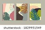 set of tropical leaves. tropic... | Shutterstock .eps vector #1829951549