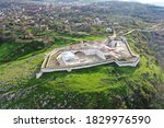 """Small photo of husha fortress - the fortress walls surrounding the historical center of Shusha. Newly established castle town was called """"Panahabad fortress"""". Aerial view of fort"""