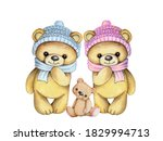 Two Cute Cartoon Teddy Bears...