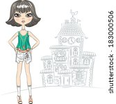 vector hipster beautiful... | Shutterstock .eps vector #183000506