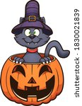 cartoon halloween black cat... | Shutterstock .eps vector #1830021839