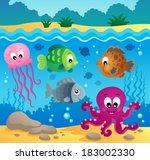 underwater ocean fauna theme 1  ... | Shutterstock .eps vector #183002330