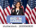 Small photo of WASHINGTON, AMERICA - AUGUST 27, 2020: Senator Kamala Devi Harris, is in talks for a rebuttal response to the Republican National Convention, as well as talks about the failure of President Trumb.