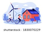 people riding bikes by... | Shutterstock .eps vector #1830070229