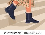 woman in black trendy chelsea... | Shutterstock .eps vector #1830081320