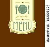 restaurant menu cover template...   Shutterstock .eps vector #183009329