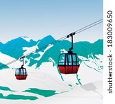 Ski Lift Gondola Snow Mountain...