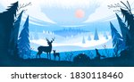 winter forest landscape with... | Shutterstock .eps vector #1830118460