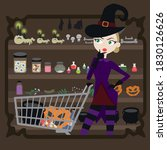 witch in the shop vector    Shutterstock .eps vector #1830126626