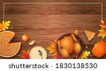 baked turkey  autumn leaves ... | Shutterstock .eps vector #1830138530