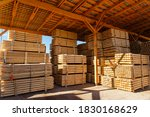 Piles Of Wooden Boards In The...