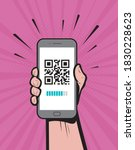 hand holding a phone with qr... | Shutterstock .eps vector #1830228623