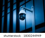 Security surveillance cameras in front of high-rise business district buildings, Shanghai   - stock photo