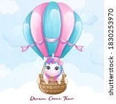 cute doodle unicorn flying with ...   Shutterstock .eps vector #1830253970