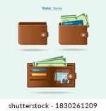 set of brown wallet full of... | Shutterstock .eps vector #1830261209