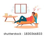 Vector people sleeping on the sofa at home in holiday. person on the chair. Illustration man was listening to music happily in a quiet place. Lifestyle relaxation healthy. People relax at home holiday