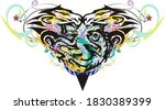 grunge abstract heart with fish ... | Shutterstock . vector #1830389399