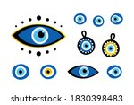 set  collection of turkish blue ... | Shutterstock .eps vector #1830398483
