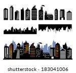 vector city buildings | Shutterstock .eps vector #183041006