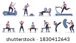 men at sport gym. male fitness... | Shutterstock . vector #1830412643