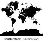 black map isolated on white... | Shutterstock . vector #183043964