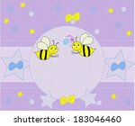 beautiful background with bees... | Shutterstock . vector #183046460