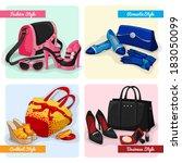 set of women luxury bags shoes... | Shutterstock .eps vector #183050099