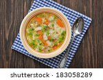 chicken soup with pasta... | Shutterstock . vector #183058289