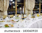 table set for an event party or ... | Shutterstock . vector #183060920