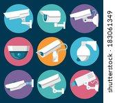digital cctv multiple security... | Shutterstock .eps vector #183061349