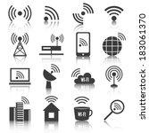 wireless communication network... | Shutterstock .eps vector #183061370