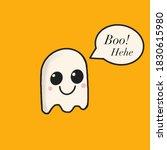 cute ghost boo hehe orange...   Shutterstock . vector #1830615980