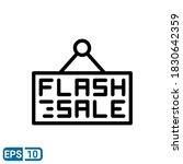 flash sale sign icon in line...