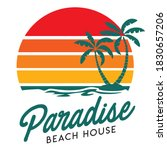 sunset beach vector logo ...   Shutterstock .eps vector #1830657206