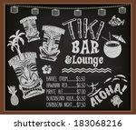 tiki bar and lounge chalkboard... | Shutterstock .eps vector #183068216