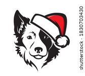 border collie dog with santa... | Shutterstock .eps vector #1830703430