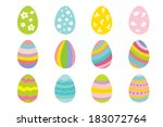 set of 12 color easter eggs. | Shutterstock .eps vector #183072764