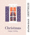 christmas tree in the window.... | Shutterstock .eps vector #1830730133
