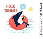 Hand Drawing Shark Print Design....