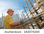 builder worker knitting metal... | Shutterstock . vector #183074204
