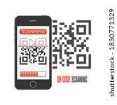scan qr code on smartphone....   Shutterstock . vector #1830771329