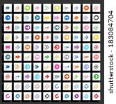 100 arrow flat icon with long...