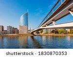 Modern bridge crossing Meuse River in Liège Belgium
