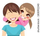 little daughter smiling... | Shutterstock .eps vector #183092240