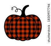 buffalo plaid pumpkin. pumpkin... | Shutterstock .eps vector #1830957746