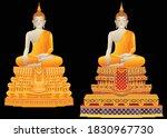 thai golden buddha statue in...   Shutterstock .eps vector #1830967730