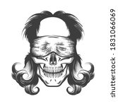 vintage tattoo of skull with... | Shutterstock .eps vector #1831066069