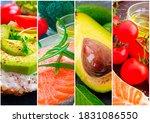fish  avocado  tomato collage... | Shutterstock . vector #1831086550