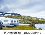 Camper Trailer Camping On Lake...