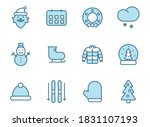 winter line vector icons in two ...